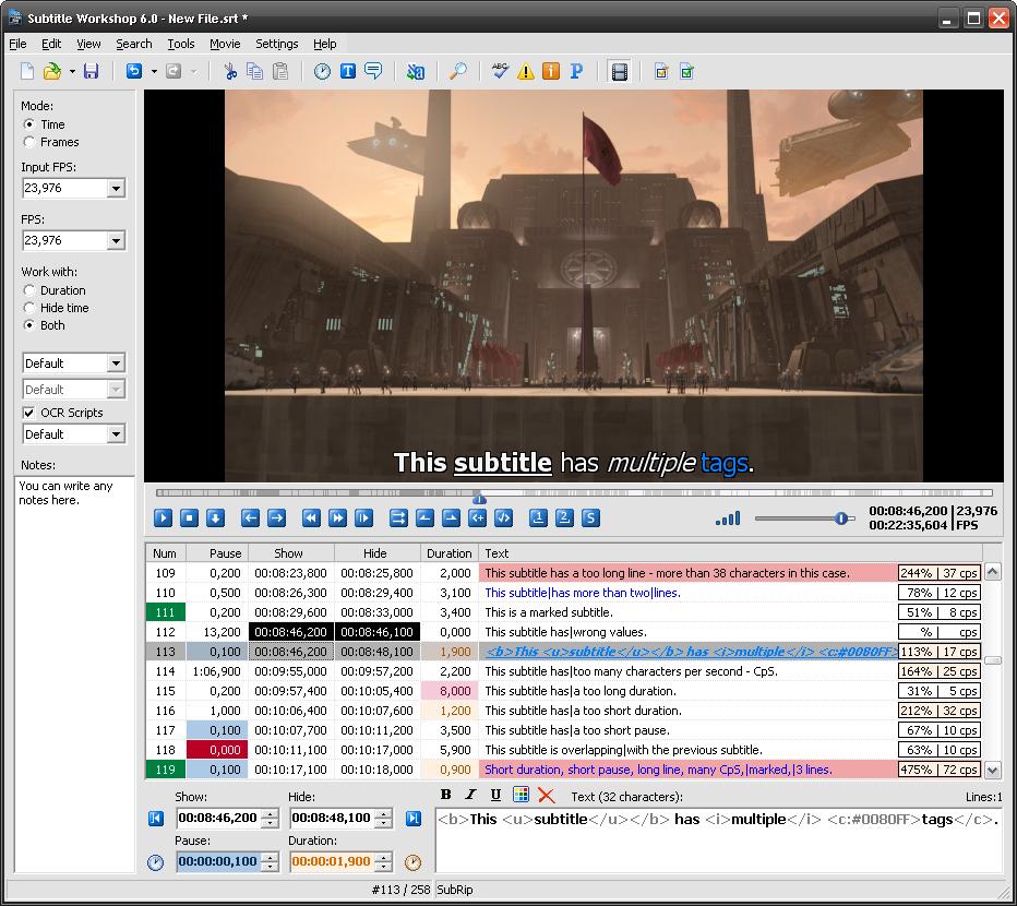 Subtitle Workshop 6.0 Build 131121 نرم افزار ساخت و ویرایش زیرنویس فیلم
