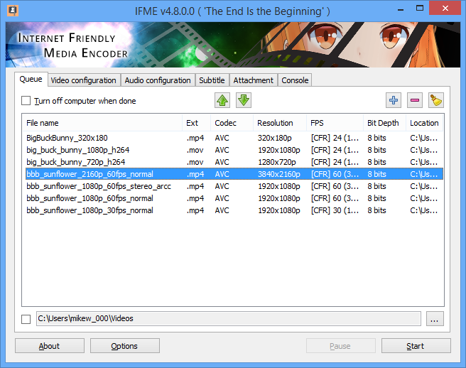 Internet Friendly Media Encoder 7.7.0.0 مبدل ویدئویی با استفاده از استاندارد H.265